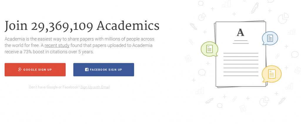 Academia.edu's new landing page, emphasizing account-creation over paper-finding