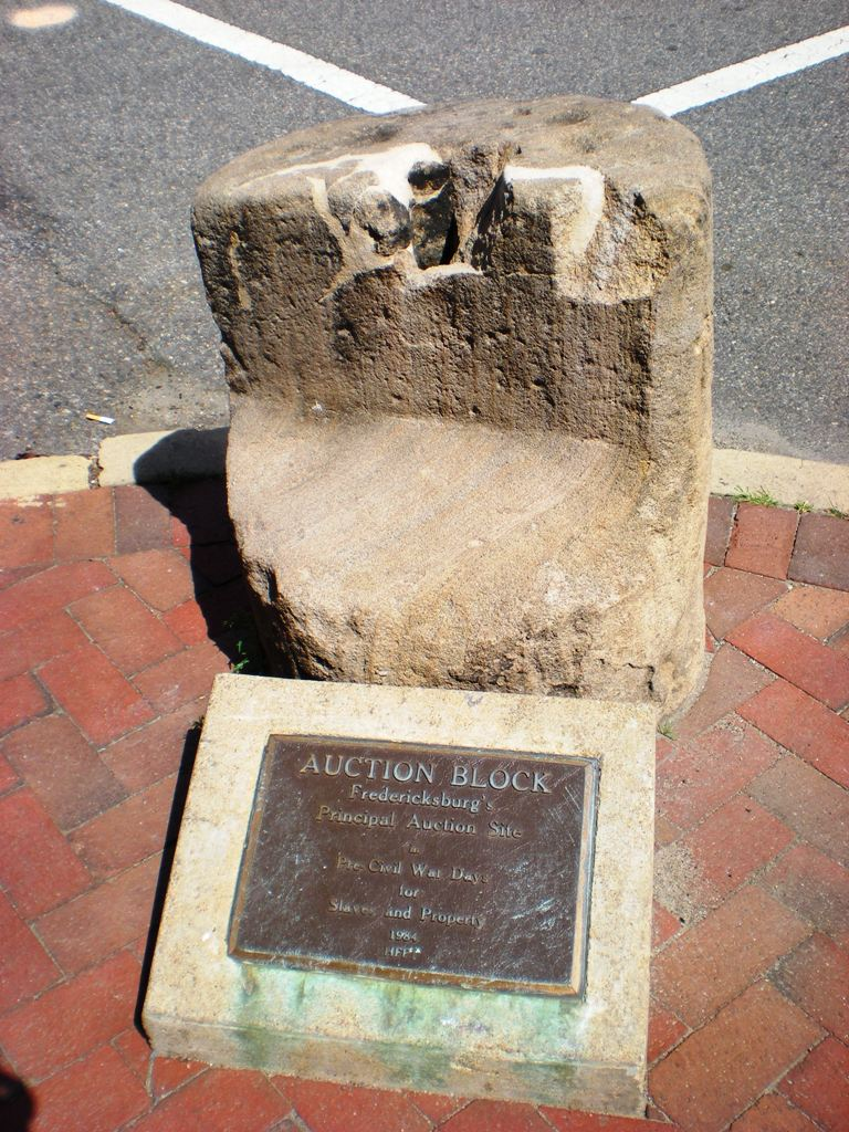 The slave auction block on a street corner in Fredericksburg, VA